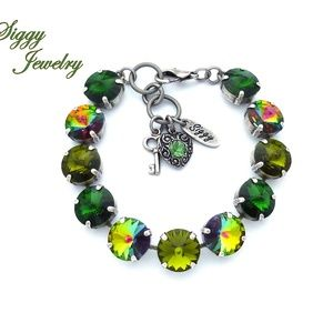Swarovski Crystal Bracelet, 12mm Olive Green Mix